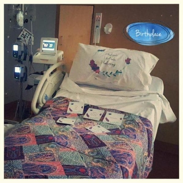 hospital-bed-birth-affirmations-colourful-fabrics