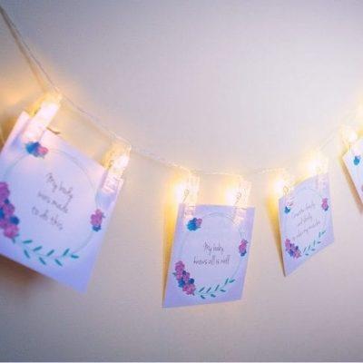 birth-affirmation-fairy-light-pegs-display