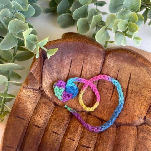 Cord Tie Birthplace Rainbow Heart